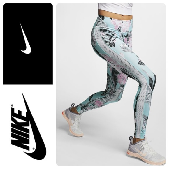 8ed4f50f5ef New Nike All-In Printed Training Tights Topaz Mist